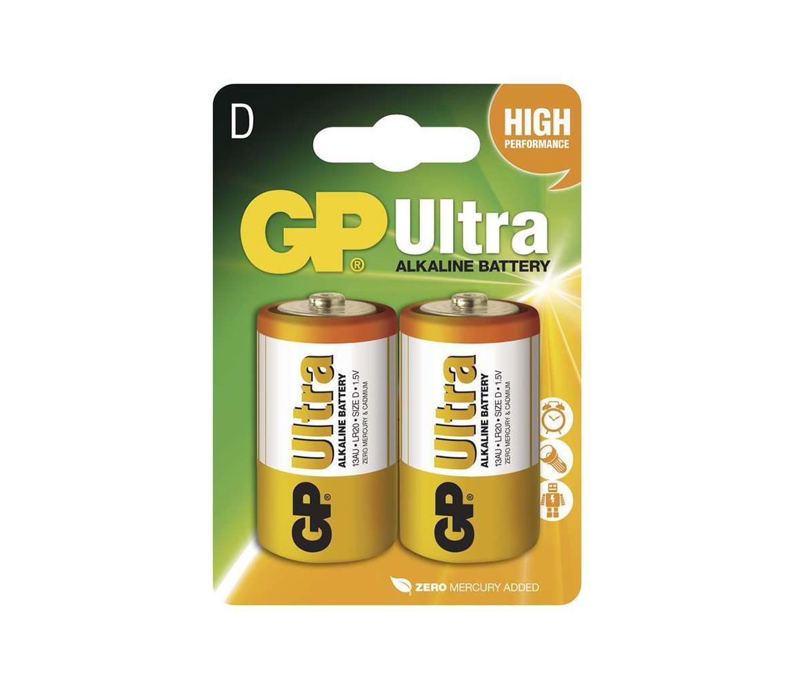 EMOS 2 ks Alkalická baterie D GP ULTRA 1,5V