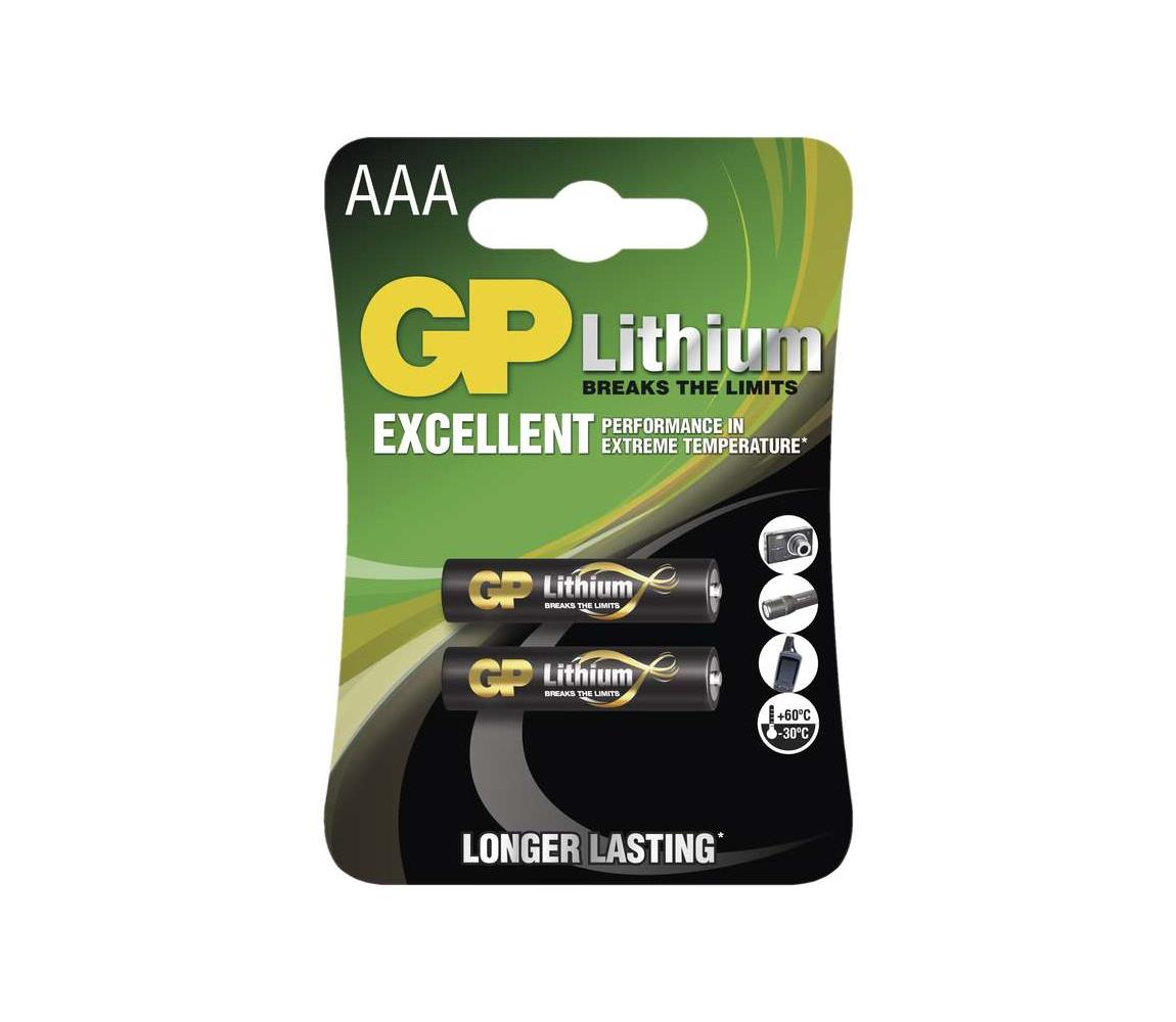 EMOS 2 ks Lithiová baterie AAA GP LITHIUM 1,5V EMS063