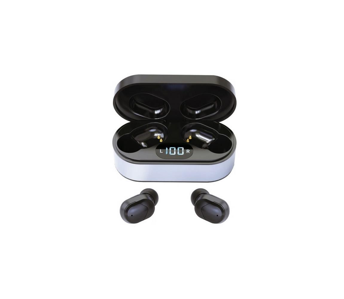 Platinet Bezdrátová sluchátka SPORT Bluetooth V5.0 + LED nabíjecí stanice černá