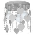 Dětské stropní svítidlo ELZA hearts 3xE27/60W/230V šedá