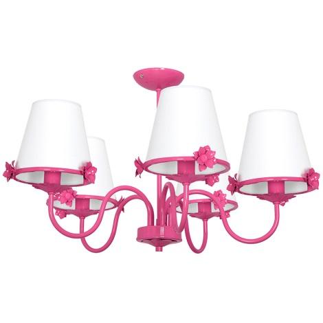 Dětský lustr ALICE 5xE14/60W/230V růžová