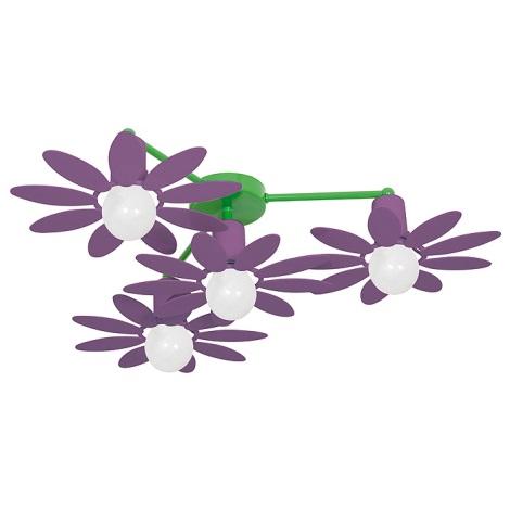 Dětský lustr KVĚTINA 4xE27/60W fialová
