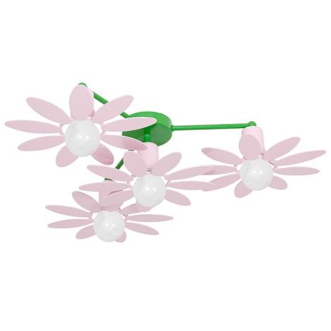 Dětský lustr KVĚTINA 4xE27/60W růžová
