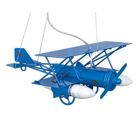 Dětský lustr Letadlo 3xE14/60W modrá