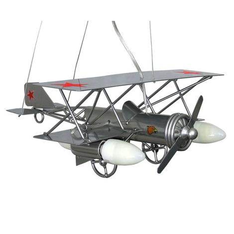 Dětský lustr Letadlo 3xE14/60W stříbrná