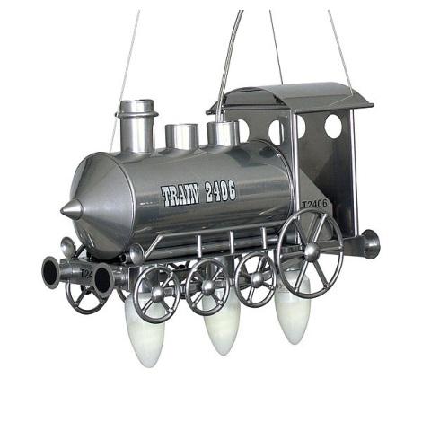 Dětský lustr Lokomotiva 3xE14/60W stříbrná