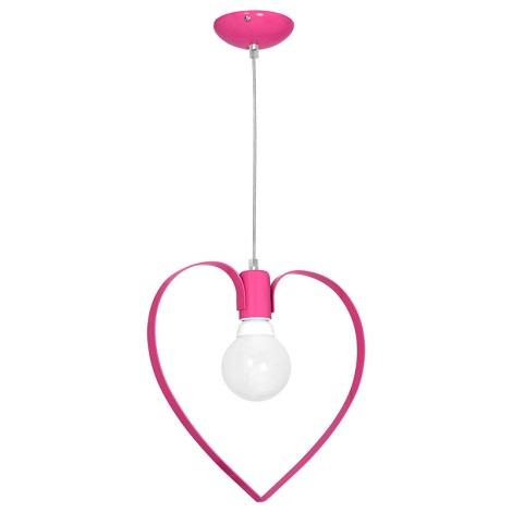 Dětský lustr LOVE 1xE27/60W/230V růžová