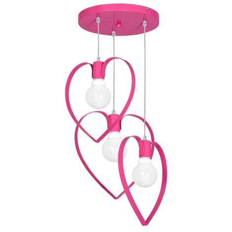 Dětský lustr LOVE 3xE27/60W/230V růžová