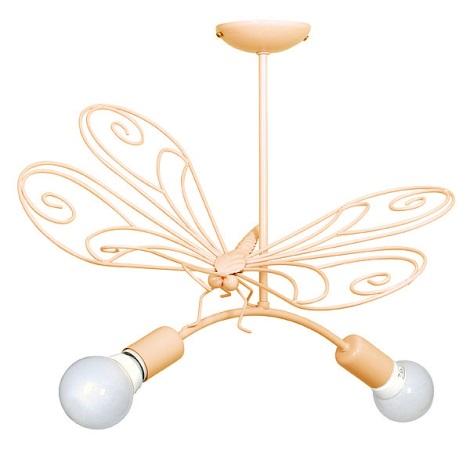 Dětský lustr Motýl 2xE27/60W oranžová