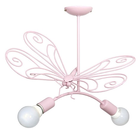 Dětský lustr Motýl 2xE27/60W růžová