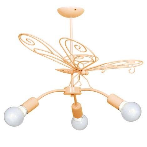 Dětský lustr Motýl 3xE27/60W oranžová