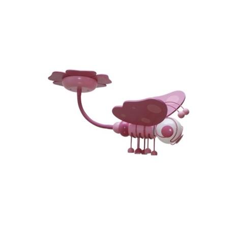 Dětský lustr MOTÝL fialová/růžová