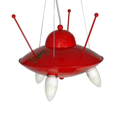 Dětský lustr UFO 3xE14/60W červená