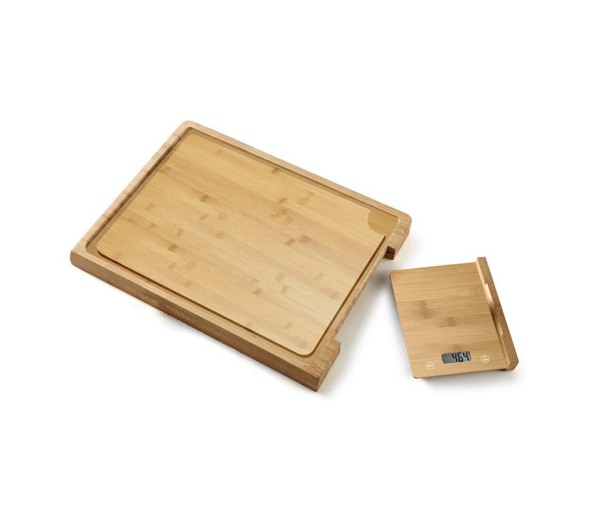 Platinet Digitální kuchyňská váha + bambusové prkénko PL0200
