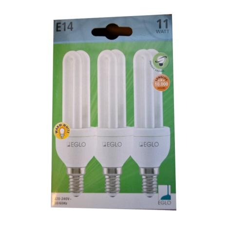 Eglo 12468 - 3x úsporná žárovka E14/11W/230V