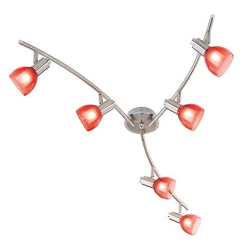 EGLO 51887 - Bodové svítidlo ROSARO 6xG9/40W bílá / červená