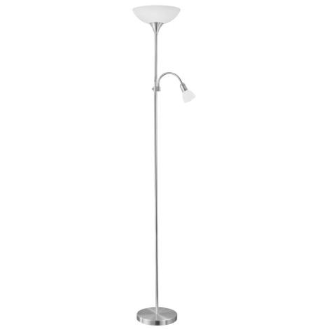 EGLO 82842 - Stojací lampa UP 2 1xE27/60W + 1xE14/25W nikl