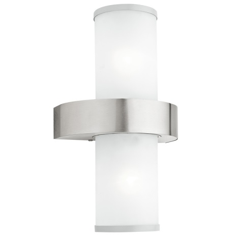 EGLO 86541 - Venkovní nástěnné svítidlo BEVERLY 2xE27/60W stříbrná / bílá