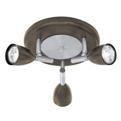 EGLO 88373 - Bodové svítidlo HALVA 1 3xGU10/35W antická hnědá