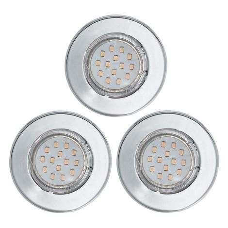 Eglo 93228 - SADA 3x LED podhledové svítidlo IGOA 3xGU10/3W/230V chrom lesk