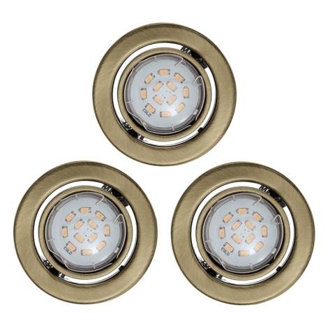 Eglo 93239 - SADA 3x LED podhledové svítidlo IGOA 3xGU10/5W/230V bronz