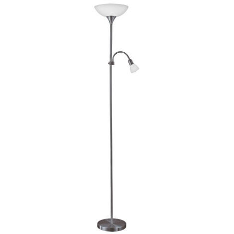 Eglo 93917 - LED stojací lampa UP 2 1xE27/60W/230V + 1xE14/25W/230V černý chrom