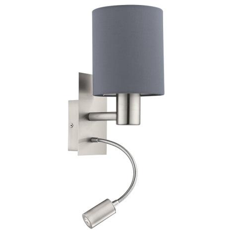 Eglo 94932 - LED nástěnné svítidlo PASTERI 1xE27/60W + LED/2,4W