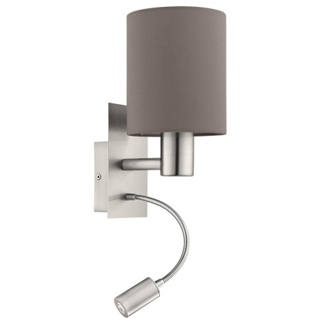 Eglo 94933 - LED nástěnné svítidlo PASTERI 1xE27/60W + LED/2,4W