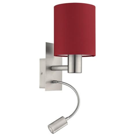 Eglo 94934 - LED nástěnné svítidlo PASTERI 1xE27/60W + LED/2,4W