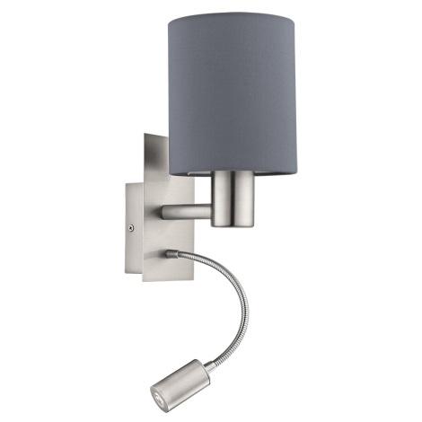 Eglo - LED Nástěnné svítidlo 1xE27/40W+LED/3,5W šedá