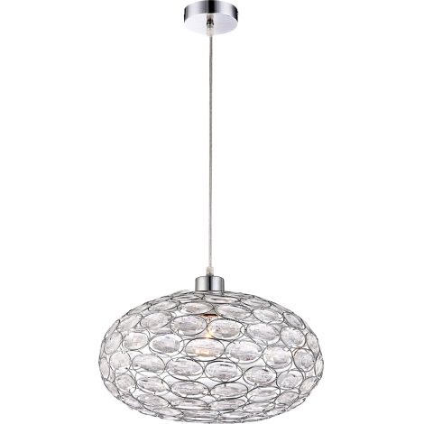GLOBO 16036 - Lustr na lanku MEGI 1xE27/60W stříbrná