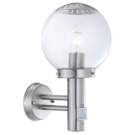 GLOBO 3180S - Venkovní nástěnné svítidlo s čidlem BOWLE II 1xE27/60W/230V