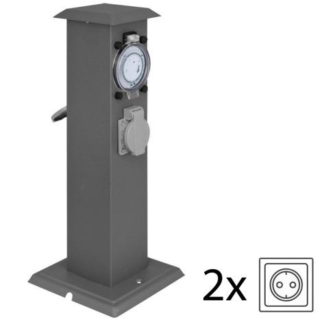 IBV 400166-014 - Venkovní zásuvkový sloupek s časovačem 2Z černá IP44