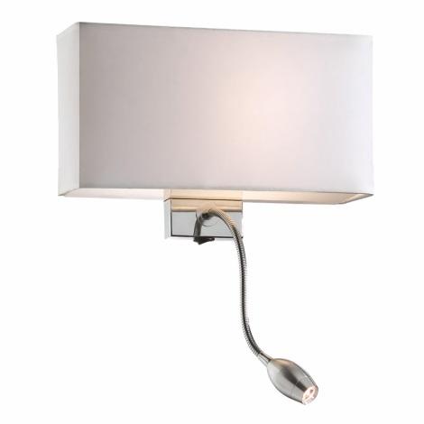 Ideal Lux 35949 - Nástěnné svítidlo HOTEL AP2 BIANCO 1xE27/60W/230V + 1x1W/LED