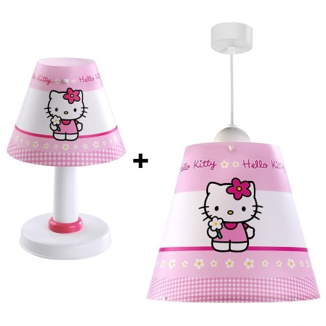 Klik 2125 - Sada dětský lustr+stolní lampa HELLO KITTY E27/60W