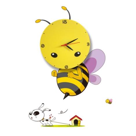 LED Dětské nástěnné svítidlo s hodinami LED/1W/3xAAA včela