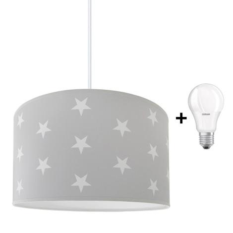 LED Dětský lustr STARS GREY 1xE27/9W/230V