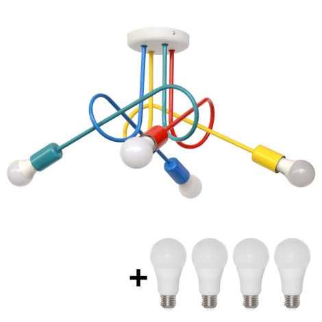 LED Dětský přisazený lustr OXFORD 4xE27/10W/230V