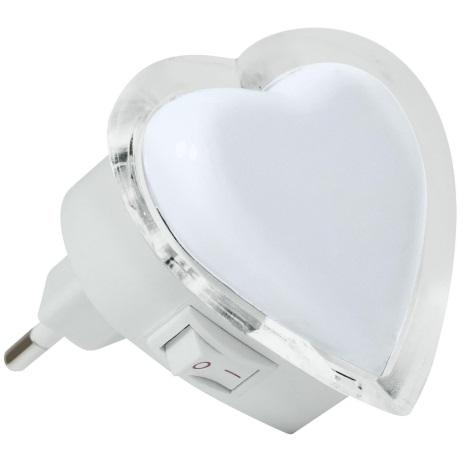 LED Noční světlo do zásuvky 0,4W/230V bílé srdce