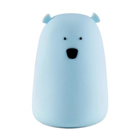 LED RGB Dětská dotyková lampička BEAR LED/0,4W/5V modrá + USB