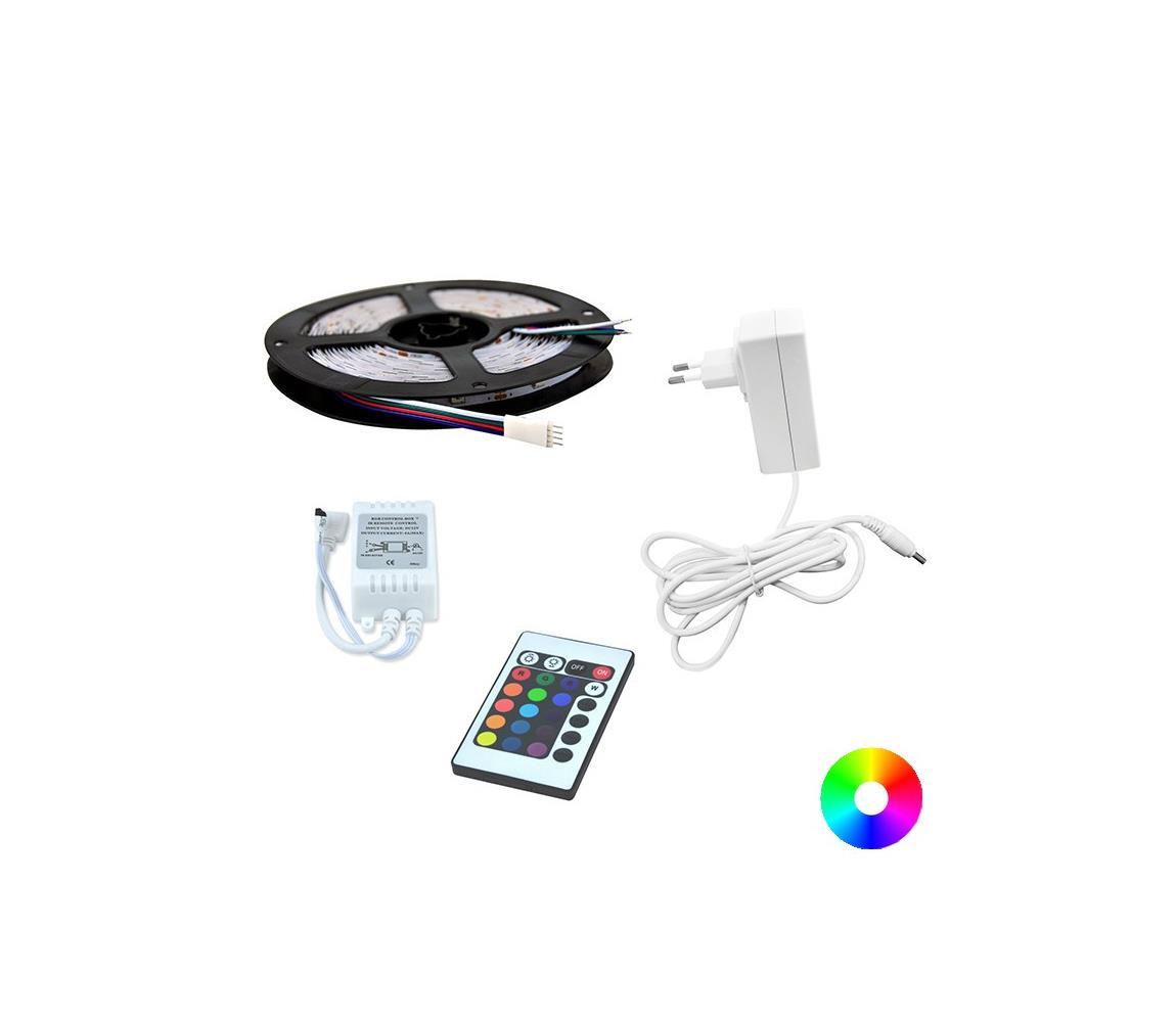 Polux LED RGB Pásek 5m + dálkové ovládání + napájecí adaptér 24W/12V SA0594