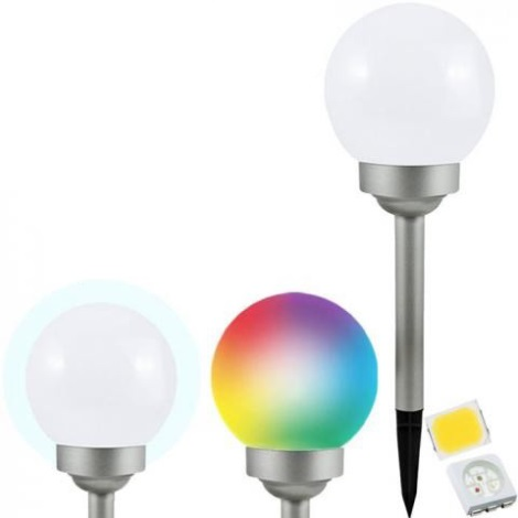LED RGB Solární lampa BALL LED/0,2W/AA 1,2V/600mAh IP44