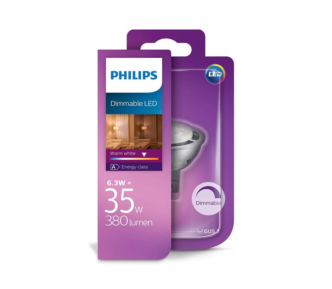 Philips LED Stmívatelná žárovka Philips GU5,3/MR16/6,3W/12V 2700K P1764