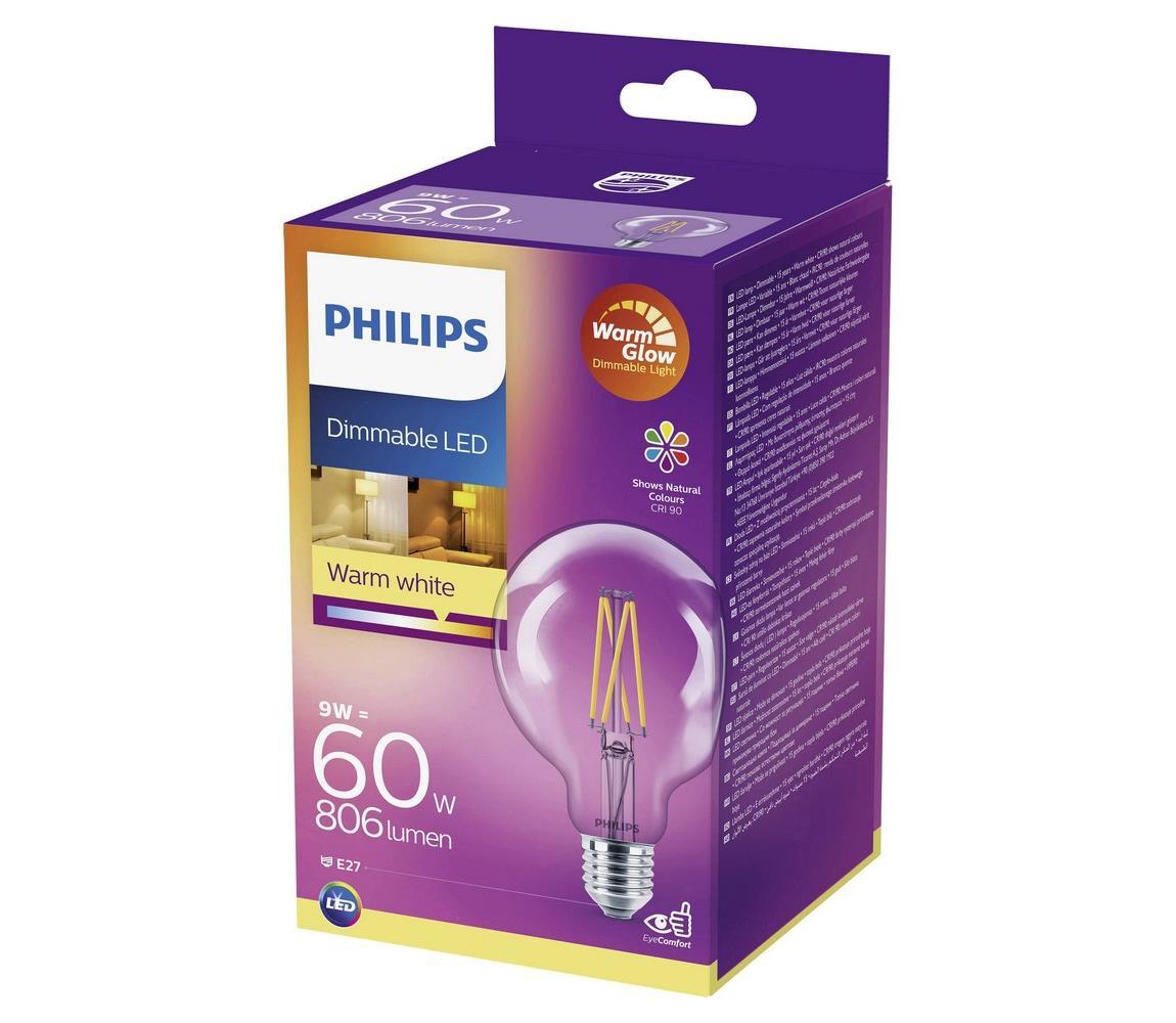 Philips LED Stmívatelná žárovka Philips Warm Glow E27/9W/230V 2200