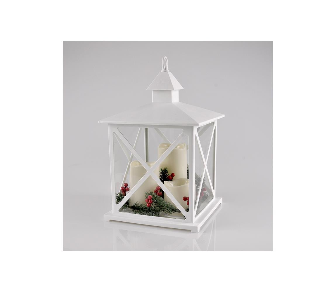 Polux LED Vánoční dekorace 3xLED/3xAAA lucerna bílá svíčky