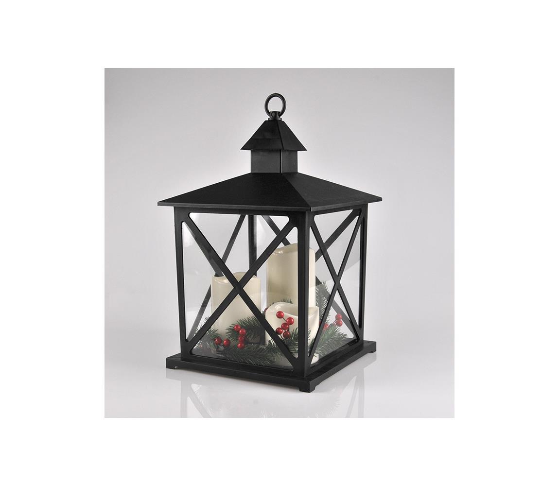 Polux LED Vánoční dekorace 3xLED/3xAAA lucerna černá svíčky