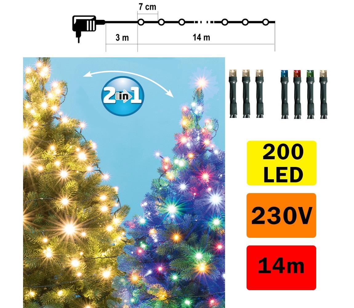 FK Technics LED Vánoční řetěz venkovní 200xLED/230V IP44