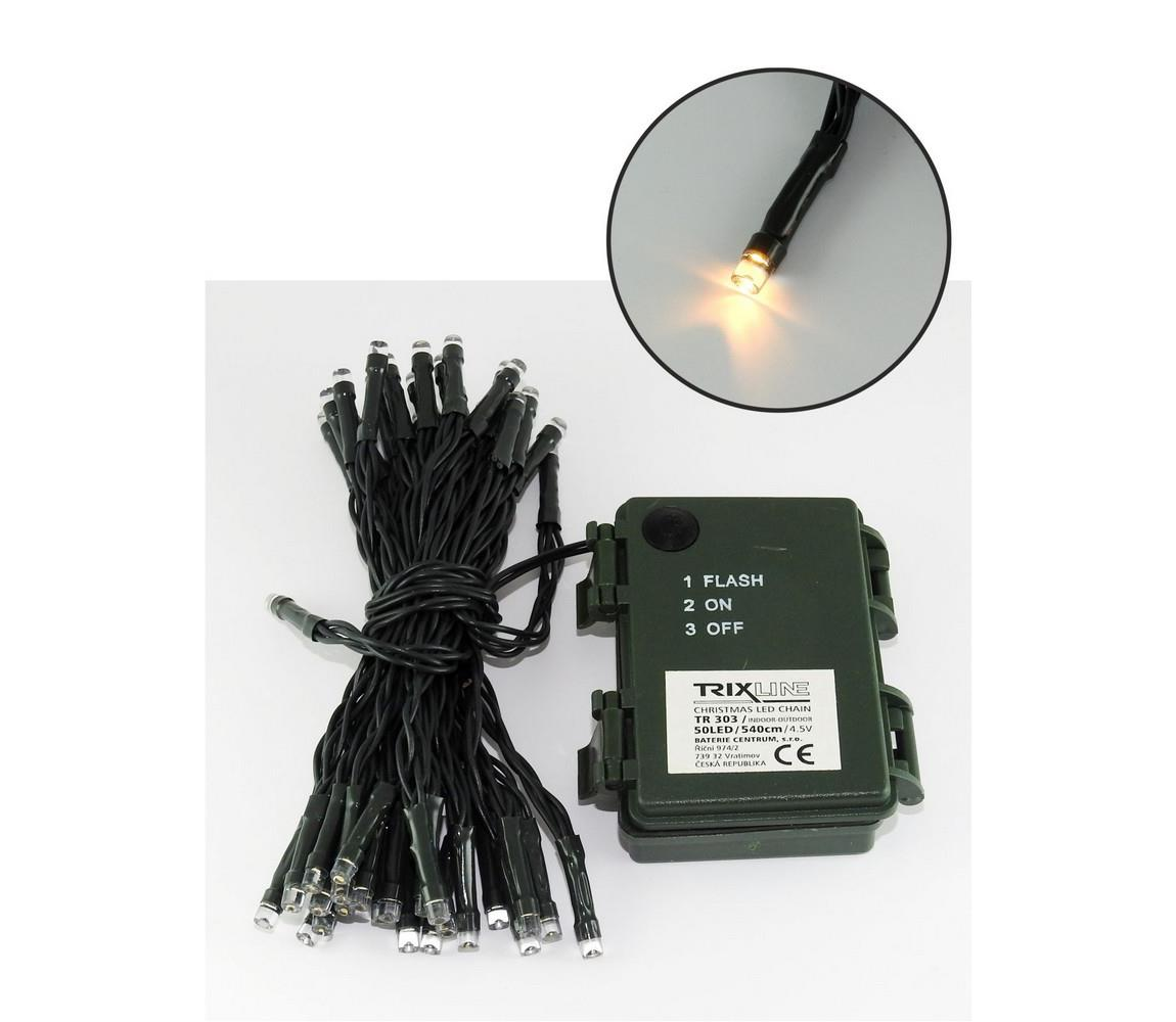 Baterie centrum LED Vánoční venkovní řetěz 5,4 m 50xLED/3xAA 2700 K IP44