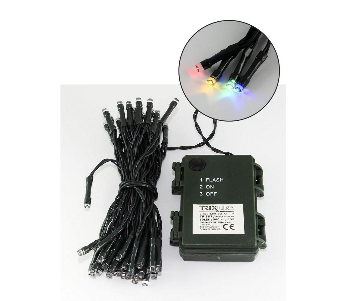 Baterie centrum LED Vánoční venkovní řetěz 5,4 m 50xLED/3xAA barevný IP44