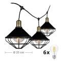 LED Zahradní závěsné svítidlo PREMIUM STRING 3m 6xE27/10W/230V IP65 černá